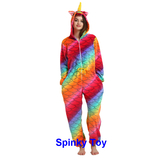 Winter pajamas rainbow unicorn with scale pattern