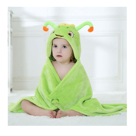 Green Caterpilar Baby Blanket With Hood