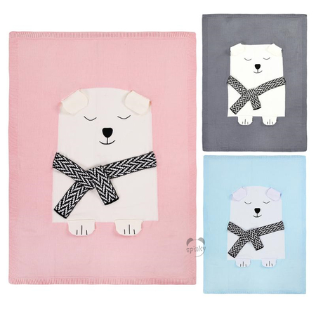 Baby knit blanket bear pattern