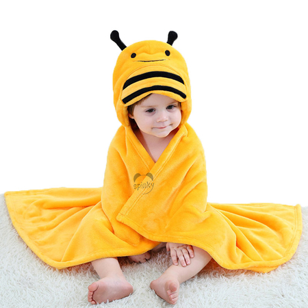 Flannel Bee Hooded Baby Blanket
