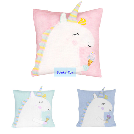Knit Unicorn Throw Pillow