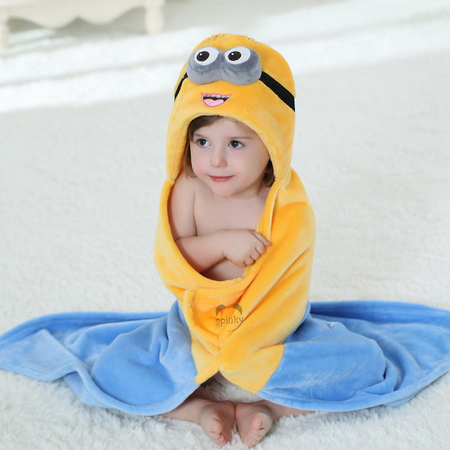 Minions Baby Blanket With Hood