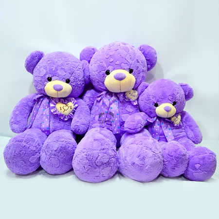 Purple Plush Teddy Bear Toy For Valentines Day Gifts