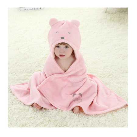 Pink Bear Baby Blanket With Hood