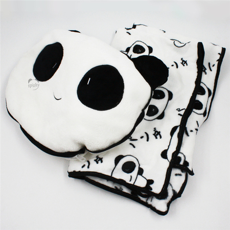 Panda Throw Pillow With Blanket