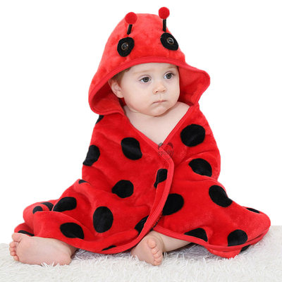 Red Ladybird Hooed Baby Blanket